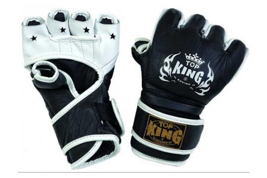 Черные трехцветные перчатки Top King для тайского бокса